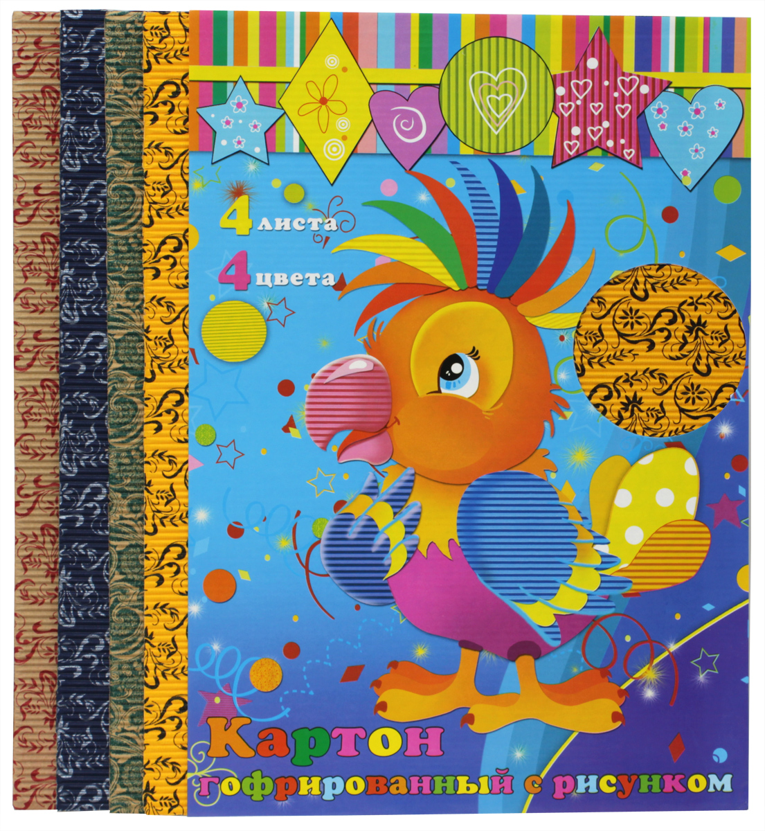 Феникс+ Гофрированный цветной картон с рисунком 4 листа цена