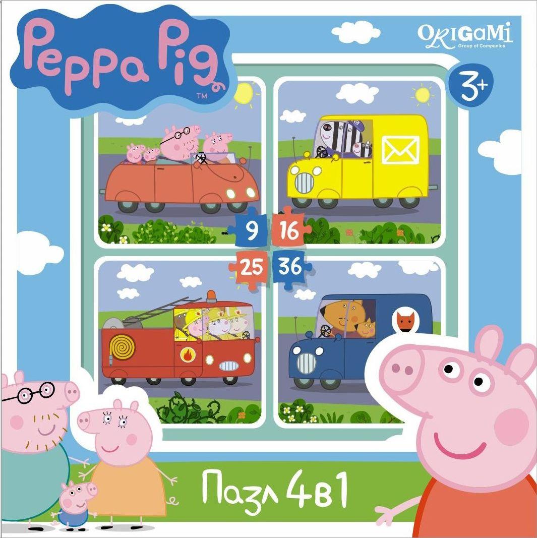 Оригами Пазл для малышей Peppa Pig 4 в 1 Транспорт пазл 4 в 1 оригами мимимишки лакомый кусочек 9 16 25 36 элементов