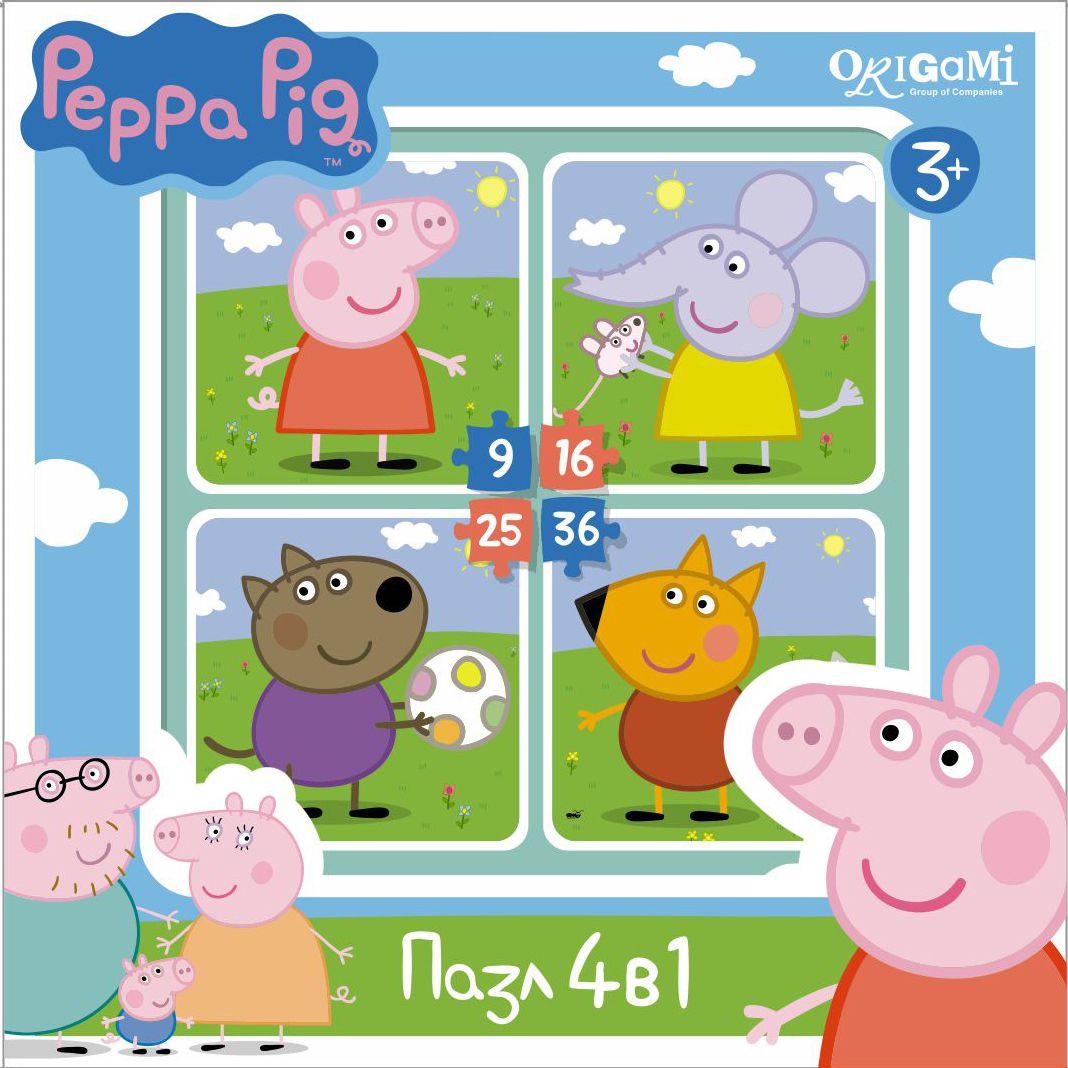Оригами Пазл для малышей Peppa Pig 4 в 1 На прогулке пазл 4 в 1 оригами мимимишки лакомый кусочек 9 16 25 36 элементов