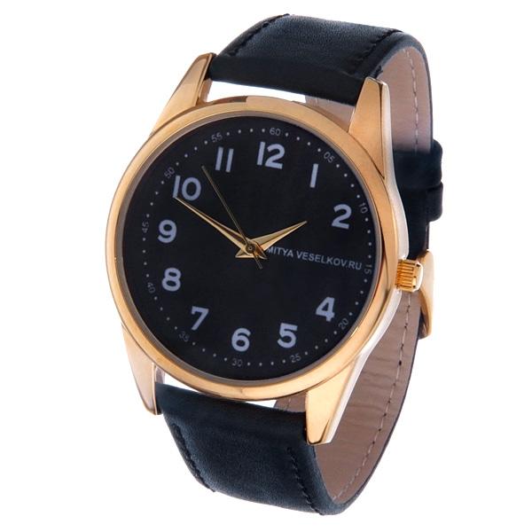 Часы Mitya Veselkov Правильные цифры на черном. Gold-29 все цены