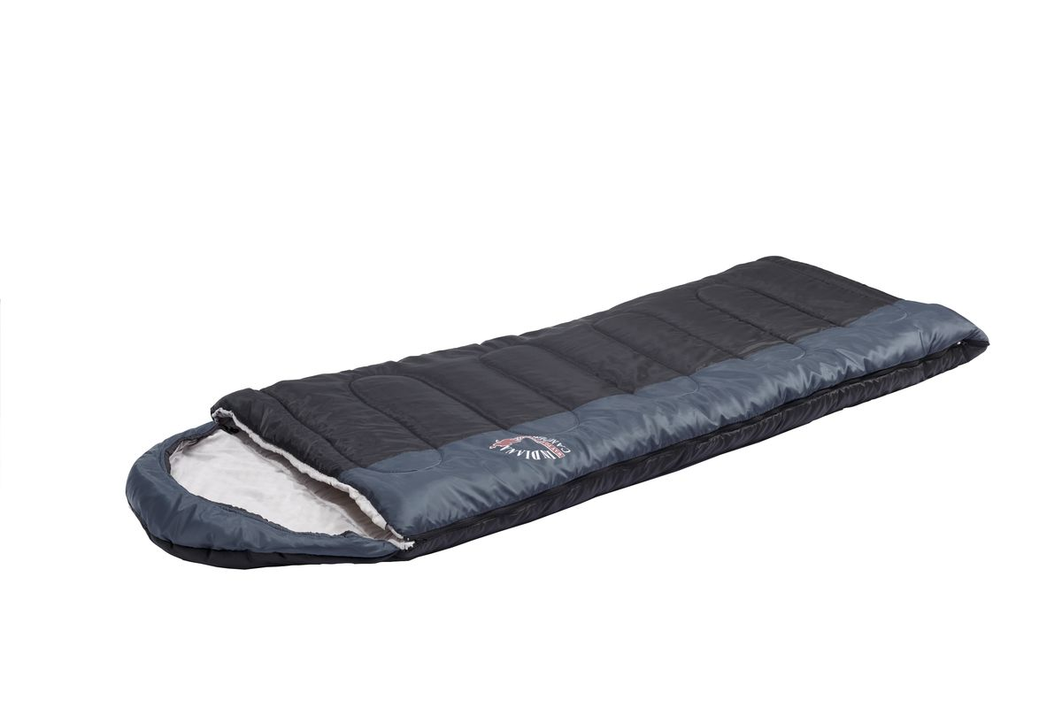 Спальный мешок Indiana Camper Plus, левая молния, цвет: серый, черный, 195 х 35 х 90 см