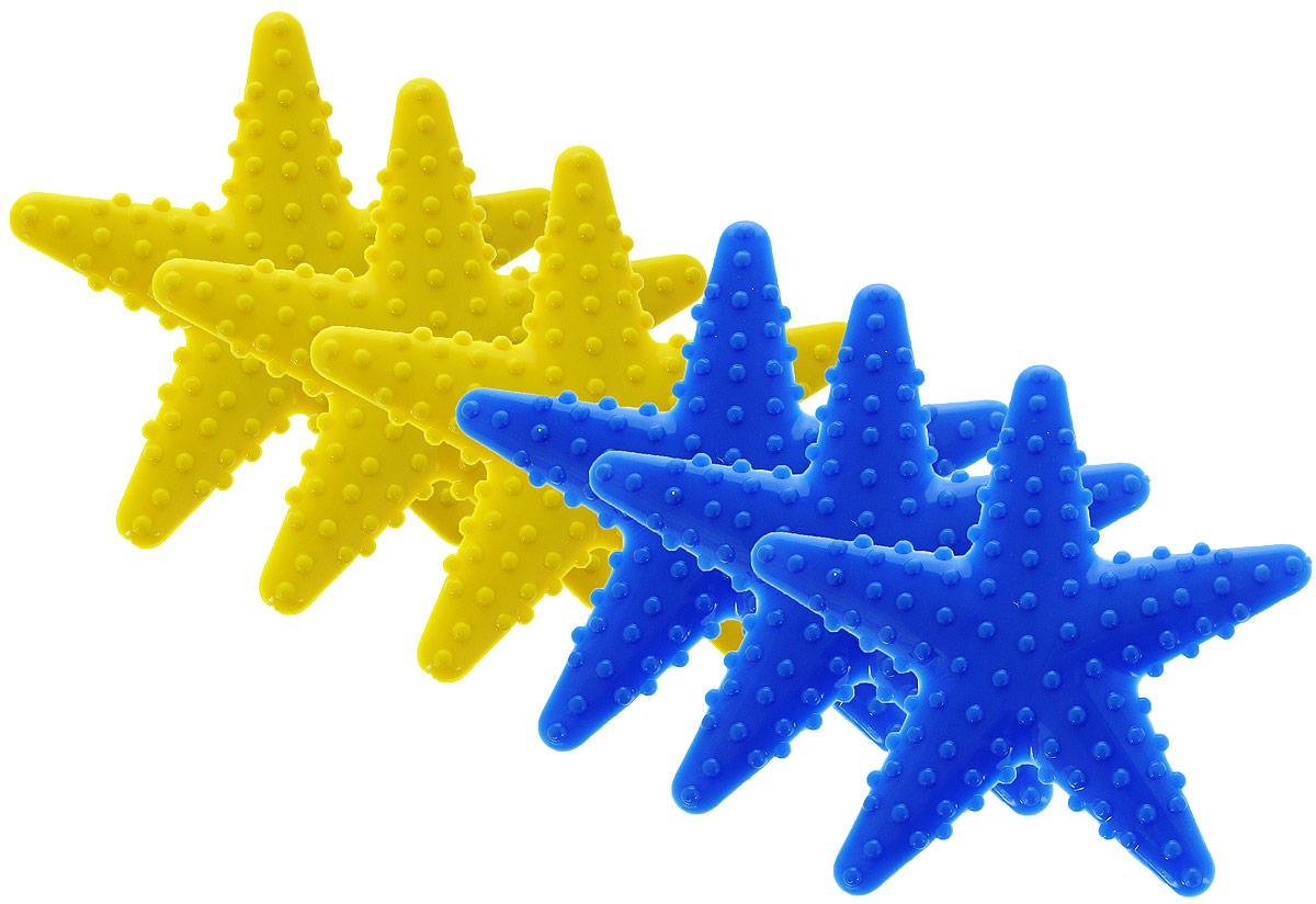 Valiant Мини-коврик для ванной комнаты Морская звезда на присосках цвет желтый синий 6 шт искусственные растения valiant муляж лук с перцем в связке желтый 60см шт