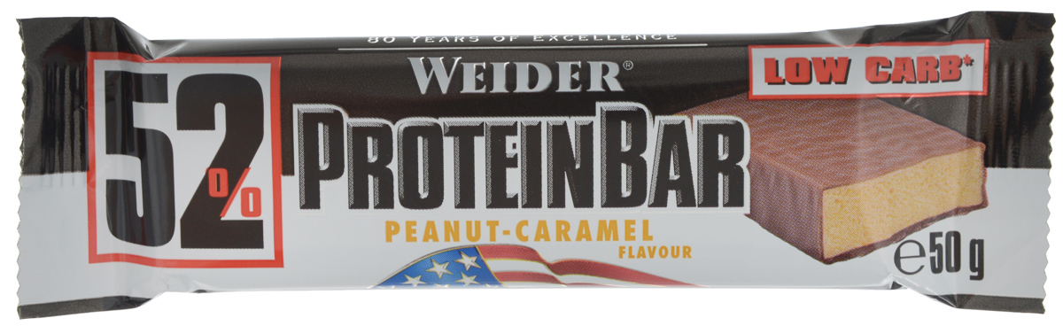 Батончик протеиновый Weider 52% ProteinBar, арахис-карамель, 50 г corny milk cocoa батончик злаковый c молоком и какао 30 г