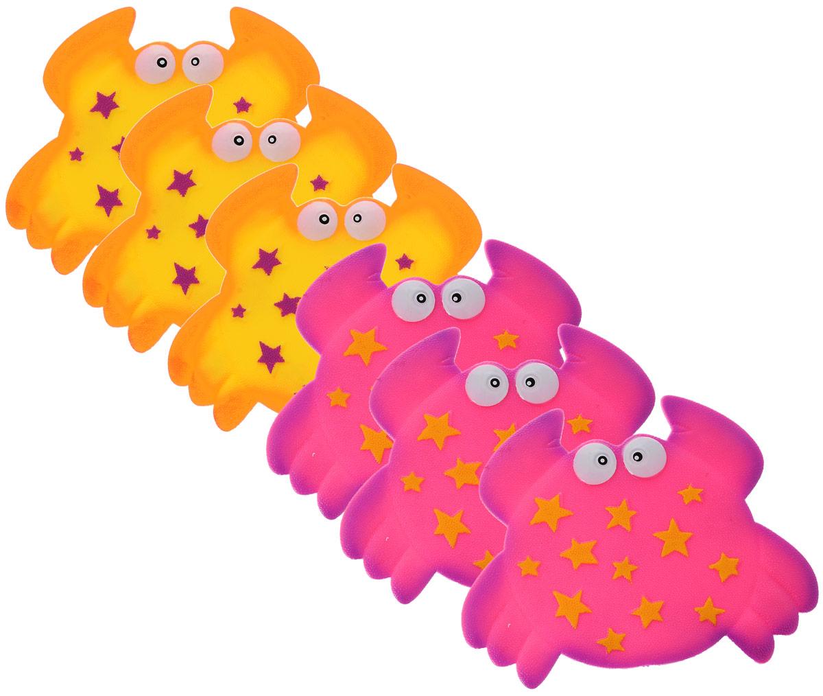 Valiant Мини-коврик для ванной комнаты Крабик на присосках цвет желтый розовый 6 шт искусственные растения valiant муляж лук с перцем в связке желтый 60см шт