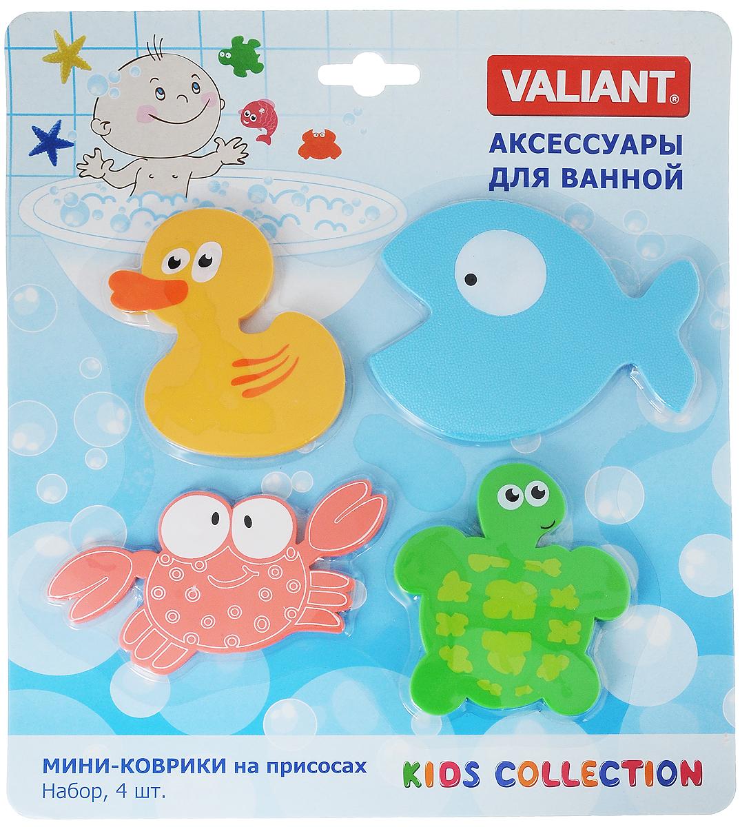 Valiant Мини-коврик для ванной комнаты Глазастики на присосках 4 шт