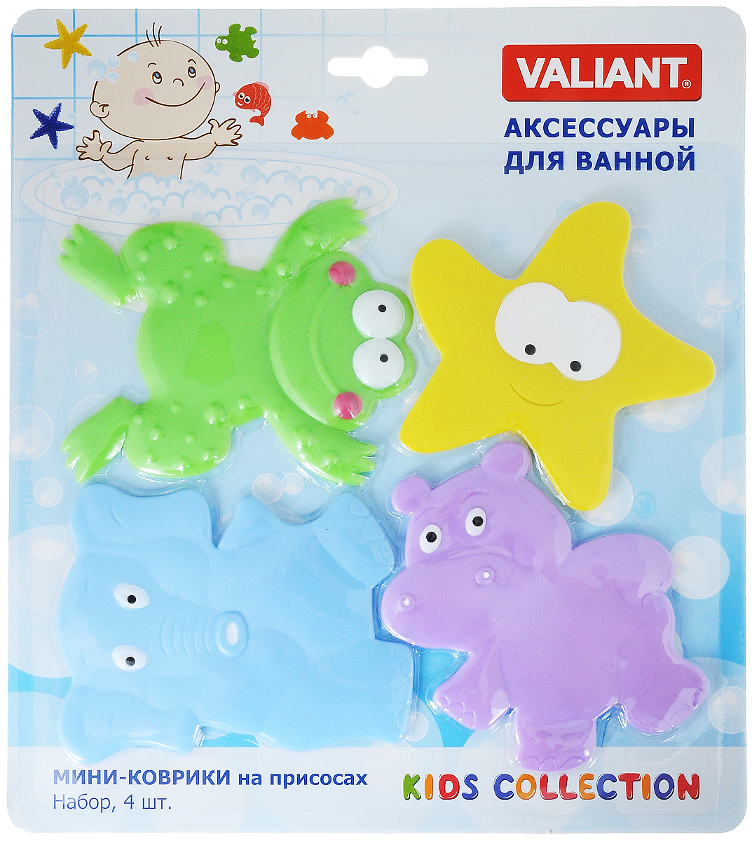 Valiant Мини-коврик для ванной комнаты Веселые зверюшки на присосках 4 шт
