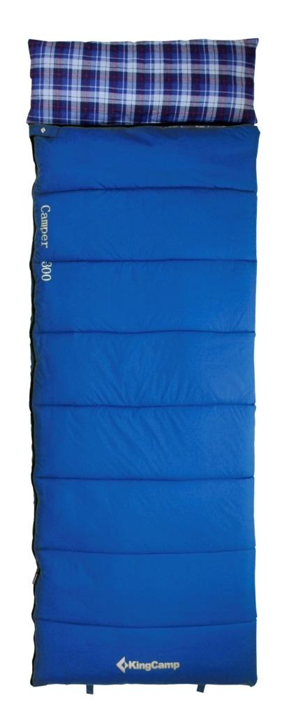 Мешок спальный KingCamp CAMPER 300 -7С, цвет: синий спальный мешок kingcamp treck 300 ks3131 правосторонняя молния цвет серый