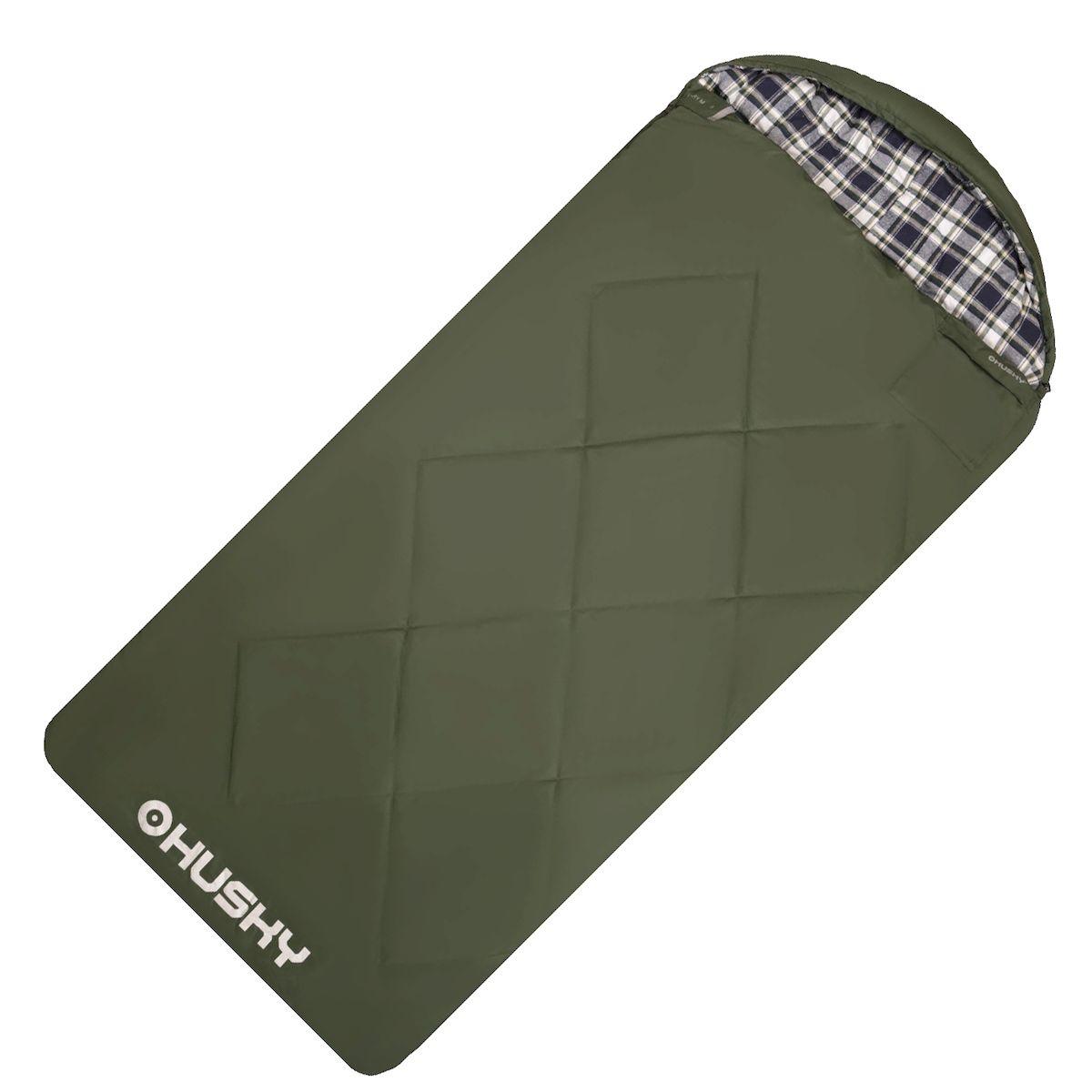 Спальник-одеяло Husky GARY -5С, правая молния, цвет: зеленый