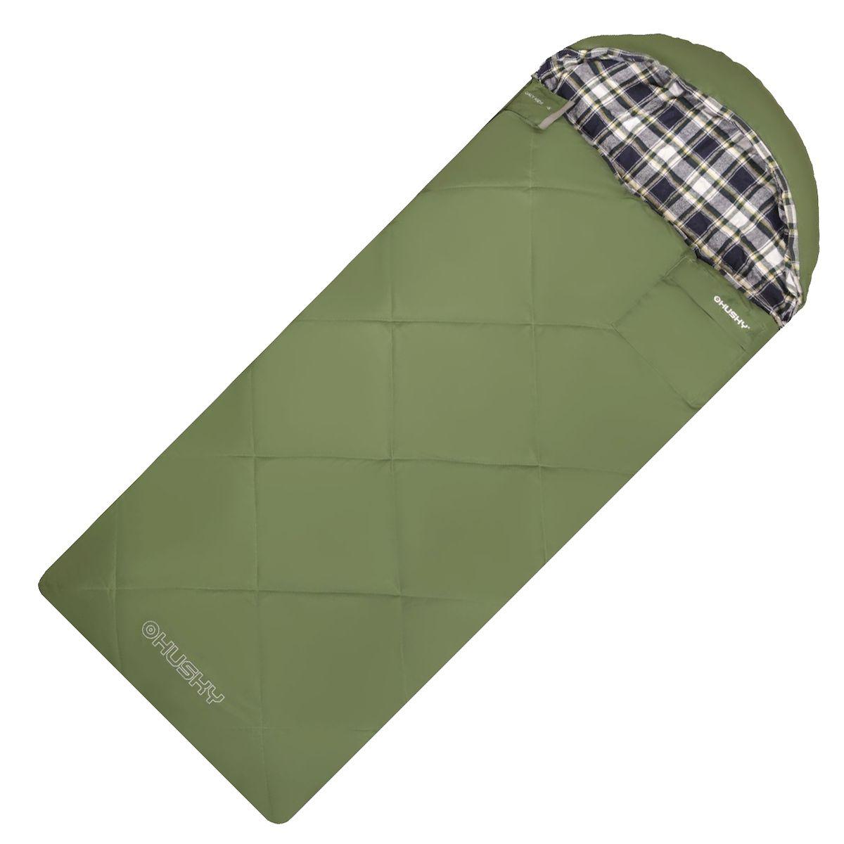 Спальник-одеяло Husky GALY KIDS -5С, правая молния, цвет: зеленый