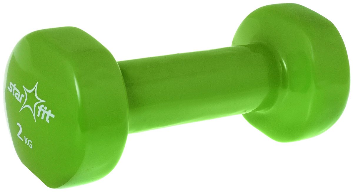 Гантель виниловая STARFIT DB-101 2 кг, зеленая (1 шт.) 1/10 гантель виниловая 2 кг star fit db 101 зеленый