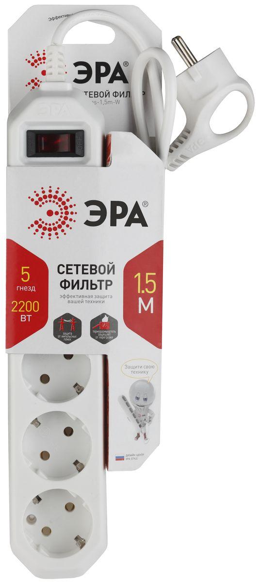 ЭРА USF-5es-1.5m-W, White сетевой фильтр эра usf 5es 1 5m w white сетевой фильтр