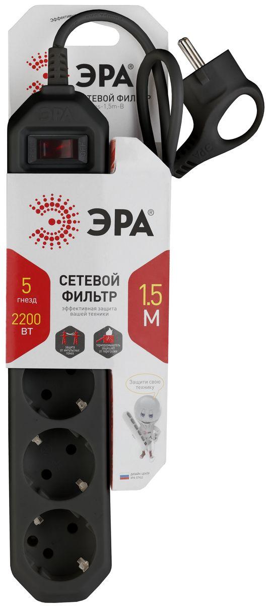 ЭРА USF-5es-1.5m-B, Black сетевой фильтр