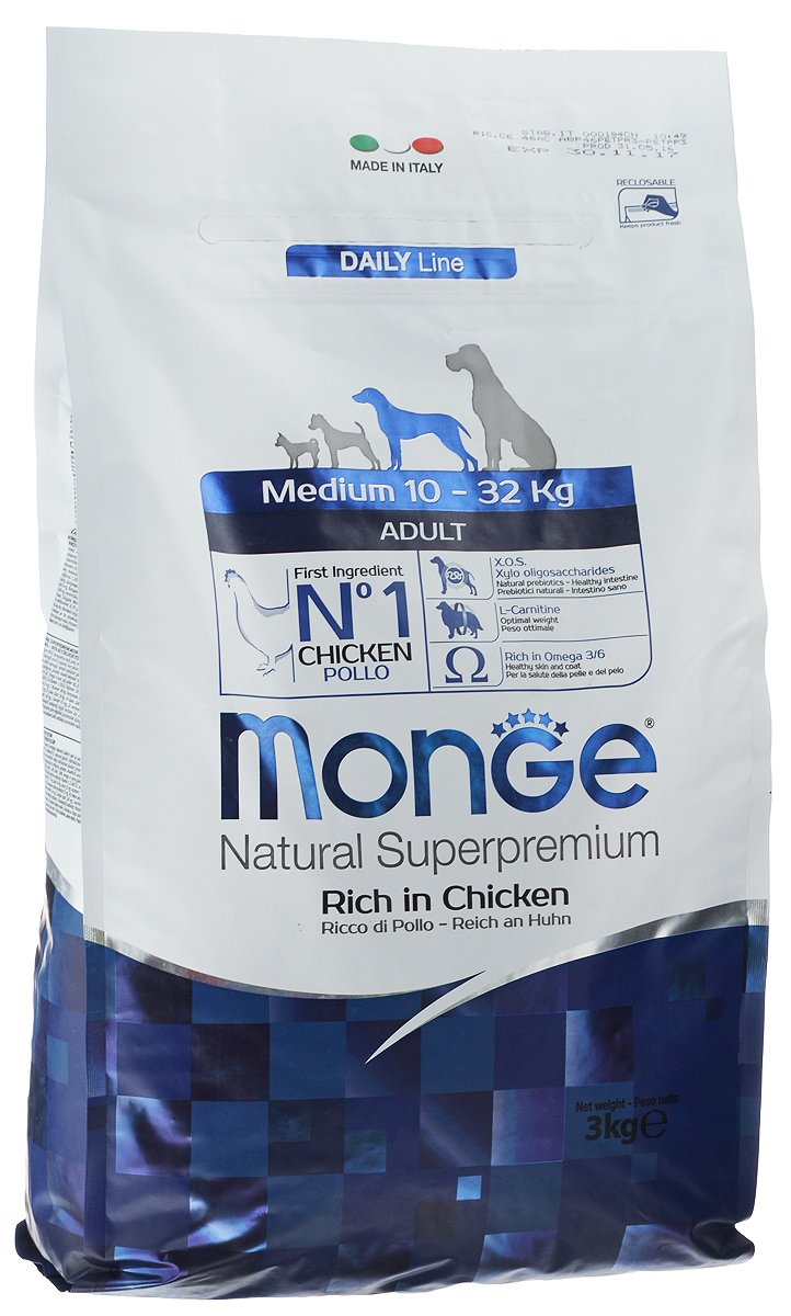 """Корм сухой """"Monge"""" для взрослых собак средних пород, 3 кг"""