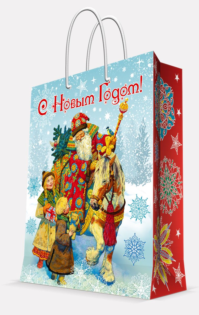 Пакет подарочный Magic Time Дед Мороз и дети, 17,8 х 22,9 х 9,8 см пакет подарочный magic time дед мороз и дети 26 х 32 4 х 12 7 см
