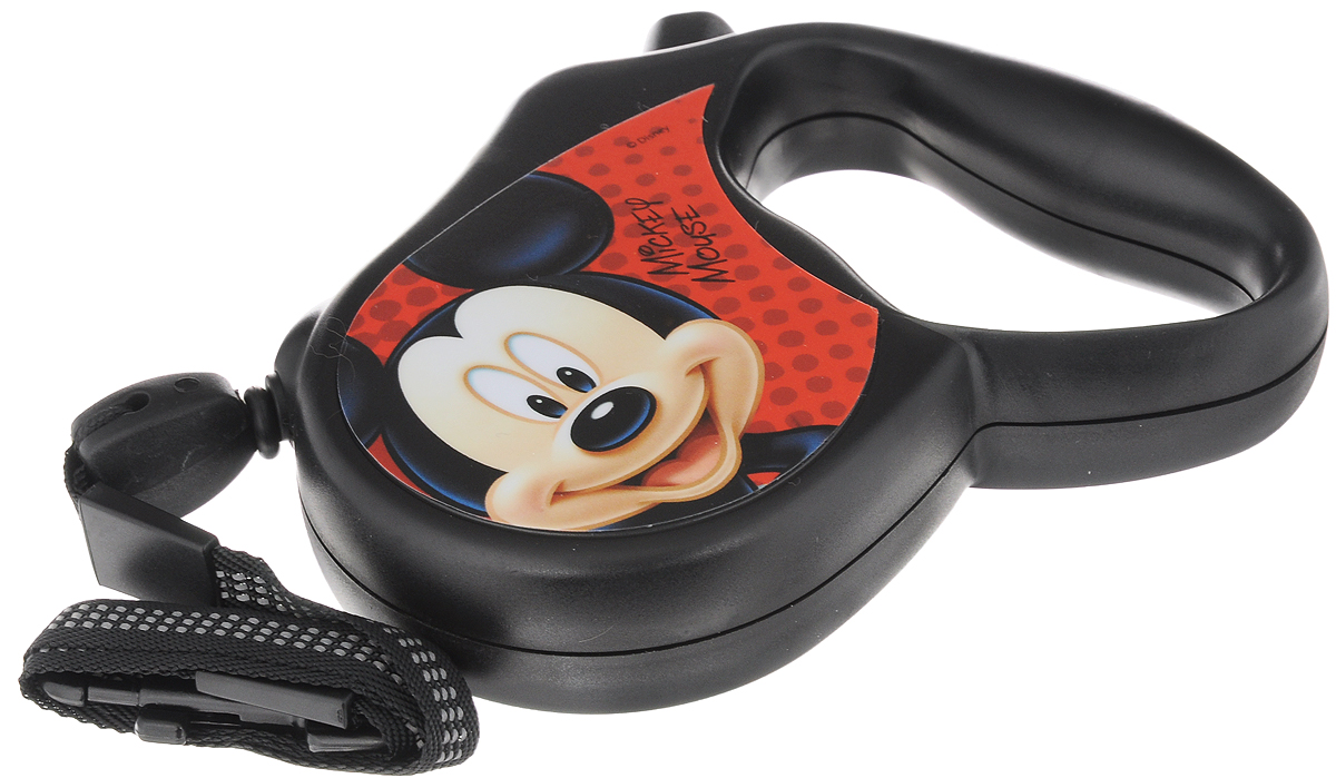"""Поводок-рулетка Triol """"Disney. Mickey"""", для собак до 12 кг, цвет: черный, красный, 3 м"""