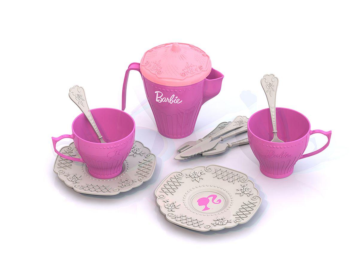Нордпласт Набор детской посуды Barbie 12 предметов песочный набор нордпласт 128 5 предметов в ассортименте