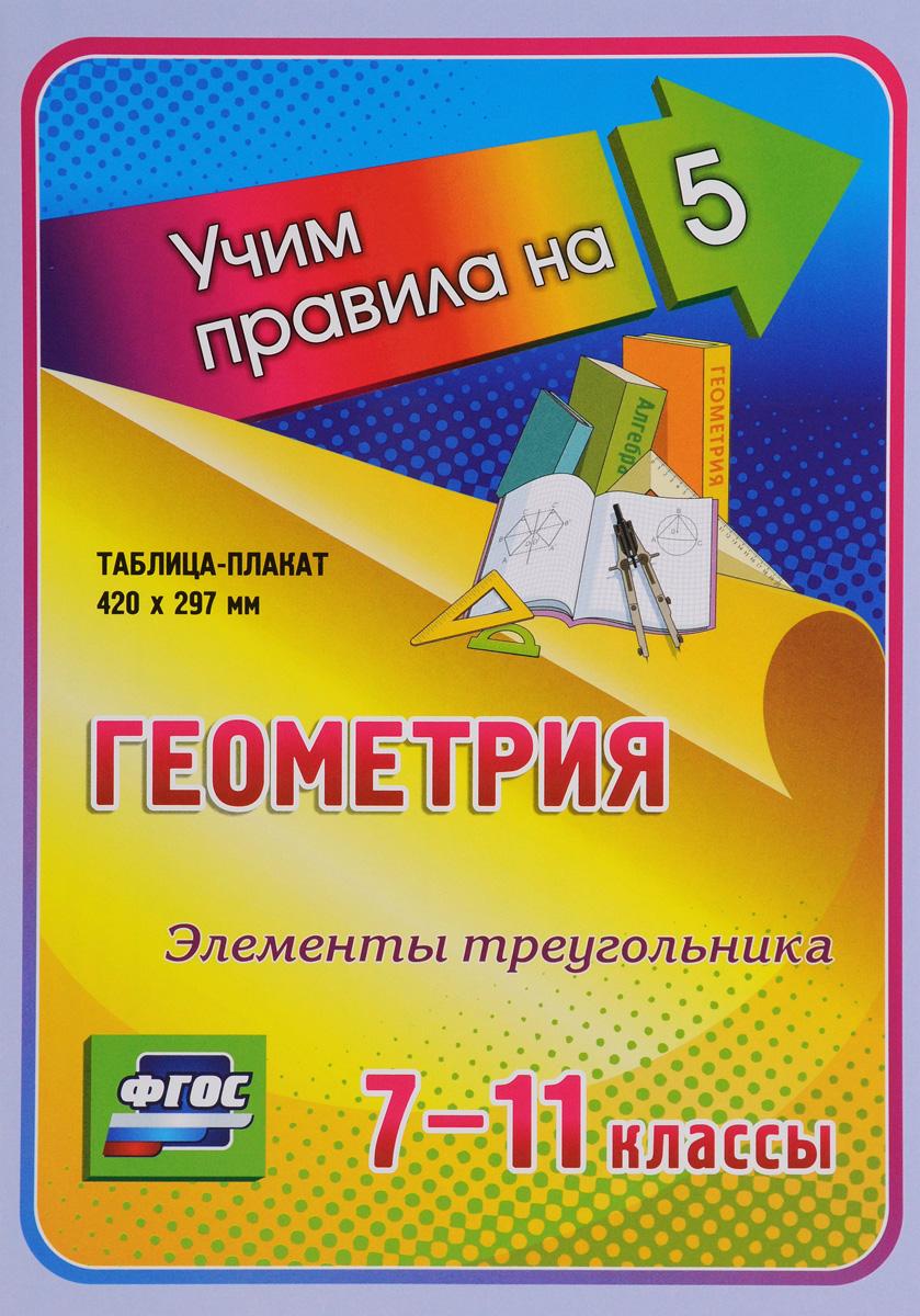 Геометрия. Элементы треугольника. 7-11 классы. Таблица-плакат
