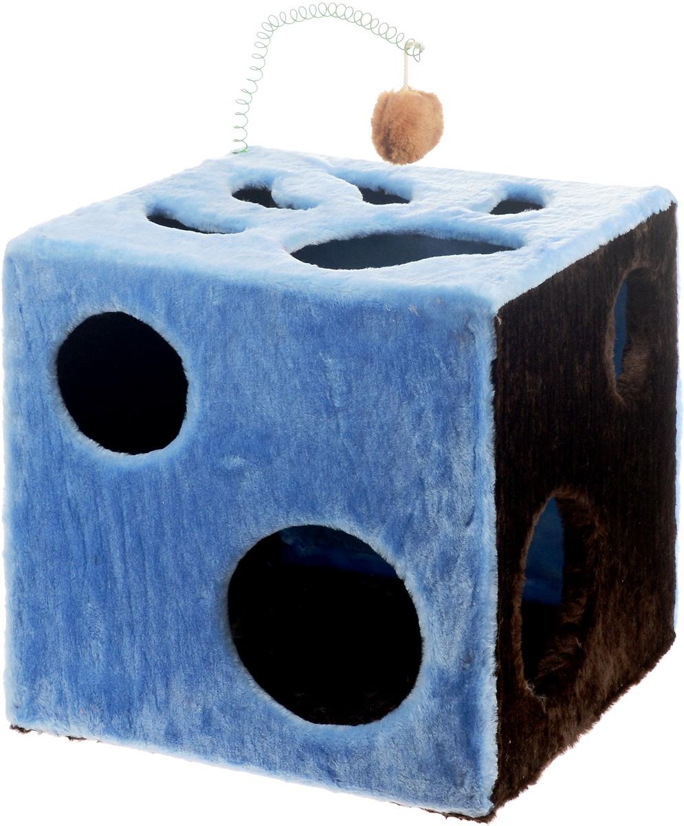 Домик для кошек ЗооМарк Кубик с лапкой, с игрушкой, цвет: голубой, зеленый, коричневый, 42 х 42 х 42 см цена