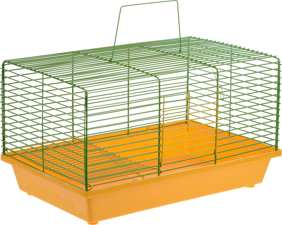 Клетка для хомяка ЗооМарк, 2-этажная, цвет: желтый поддон, зеленая решетка, 36 х 23 х 20 см клетка для хомяка сландо