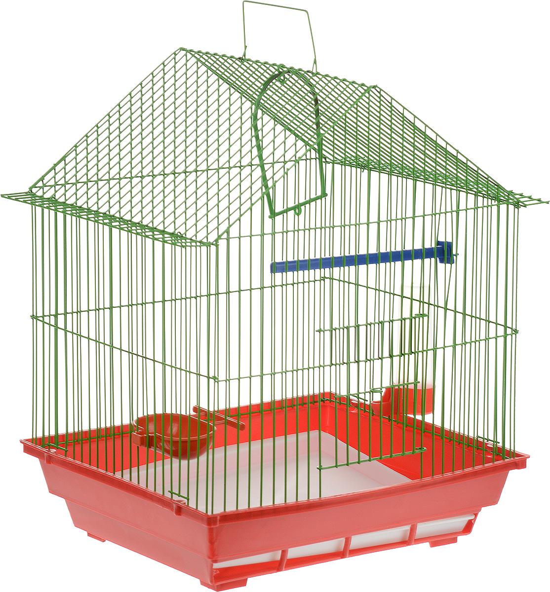 Клетка для птиц ЗооМарк, цвет: красный поддон, зеленая решетка, 39 х 28 х 42 см цена