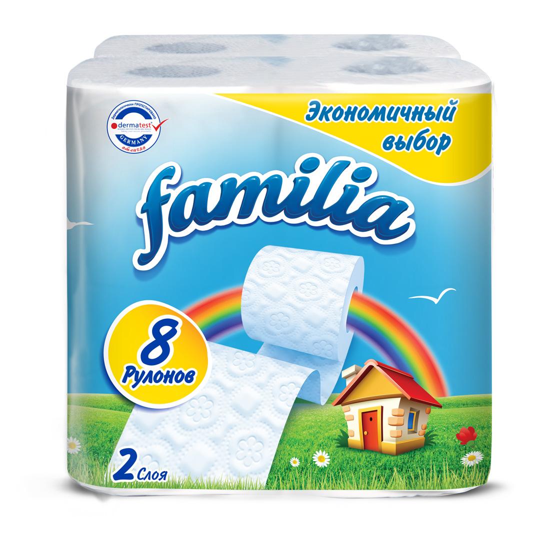Туалетная бумага Familia Радуга, двухслойная, в ассортименте, 8 рулонов туалетная бумага familia plus магический цветок двухслойная цвет белый 4 шт