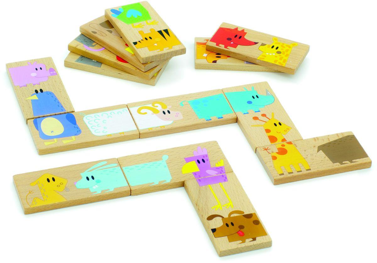 Мир деревянных игрушек Обучающая игра Домино Зоопарк развивающая игра rico домино зоопарк