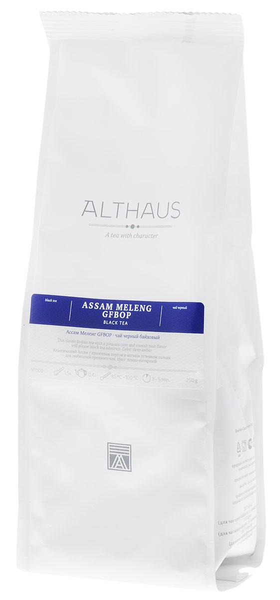 Althaus Assam Meleng GFBOP черный листовой чай, 250 г8938506647615Ассам Меленг GFBOP — классический индийский черный чай из всемирно известного штата Ассам, выращенный на равнинах в долине великой реки Брахмапутры. Маркировка GFBOP (Golden Flowery Broken Orange Pekoe) указывает на среднелистовой чай высокого качества с большим количеством типсов. Сухие чаинки насыщенного шоколадного цвета источают сладкий аромат с фруктовой нотой. При заваривании среднелистовой чай получается более крепким, чем крупнолистовой. Ассам Меленг дает бодрящий свежий настой с насыщенным приятным вкусом и мягким солодовым оттенком. В его пряном, немного цветочном аромате ощущаются необычные для черного чая медовые нотки. Несмотря на свой терпко-вяжущий вкус, в целом этот чай более мягкий и бархатистый, чем традиционные цейлонские сорта. Цвет правильно заваренного ассамского чая иногда называют цветом бисквитной корочки — это очень яркий, насыщенный красновато-коричневый цвет. Благодаря своей особой терпкости этот чай хорошо сочетается с сахаром, молоком или другими добавками. Оптимальная температура заваривания чая Ассам Меленг GFBOP 95 °С. Температура воды: 85-100 °С Время заваривания: 3-5 мин Цвет в чашке: насыщенный янтарный Всё о чае: сорта, факты, советы по выбору и употреблению. Статья OZON Гид