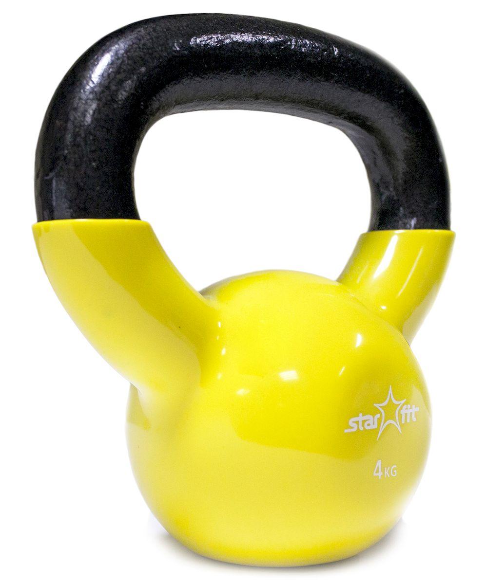 Гиря виниловая DB-401, желтая, 4 кг гиря iron head медведь 32 0 кг