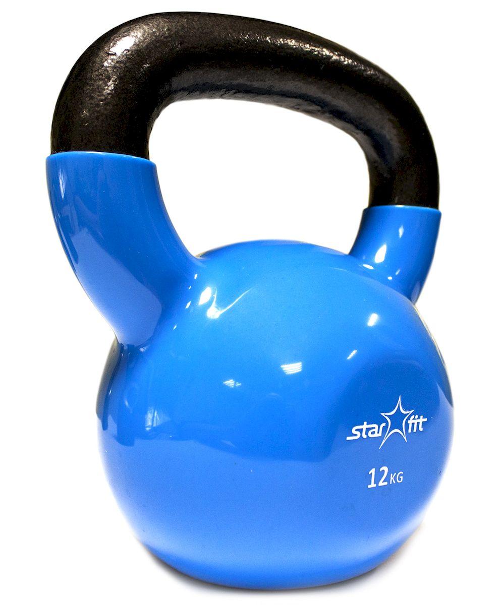 Гиря виниловая DB-401, синяя, 12 кг гиря starfit db 501 пластиковая цвет синий черный 8 кг