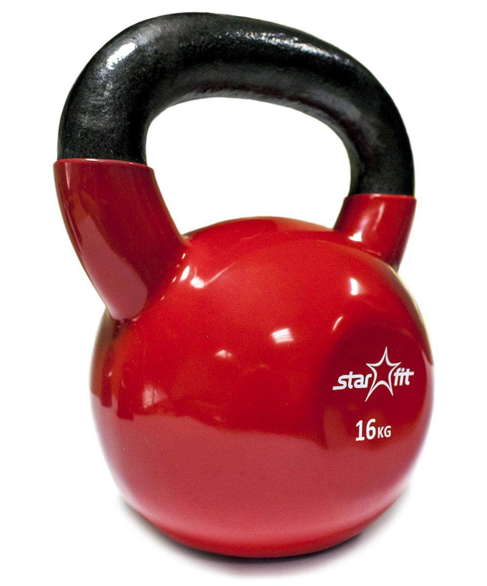 Гиря виниловая DB-401, красная, 16 кг гиря iron head медведь 32 0 кг