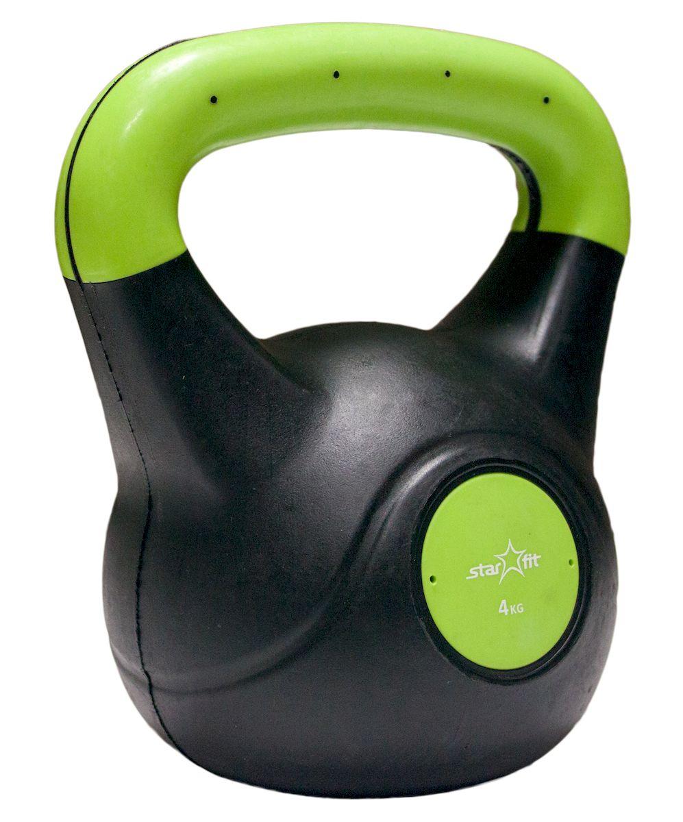 Гиря Starfit DB-501, пластиковая, цвет: зеленый, черный, 4 кг гиря iron head медведь 32 0 кг