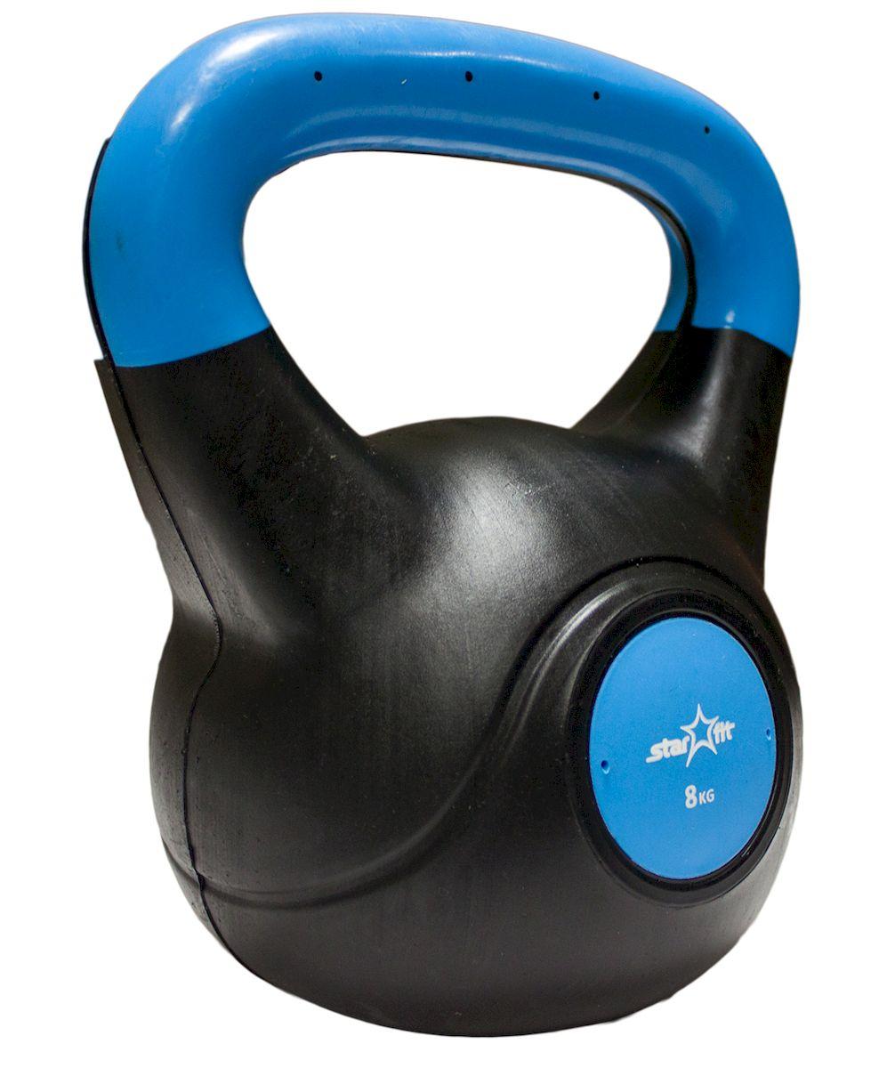 Гиря Starfit DB-501, пластиковая, цвет: синий, черный, 8 кг гиря titan 8 кг