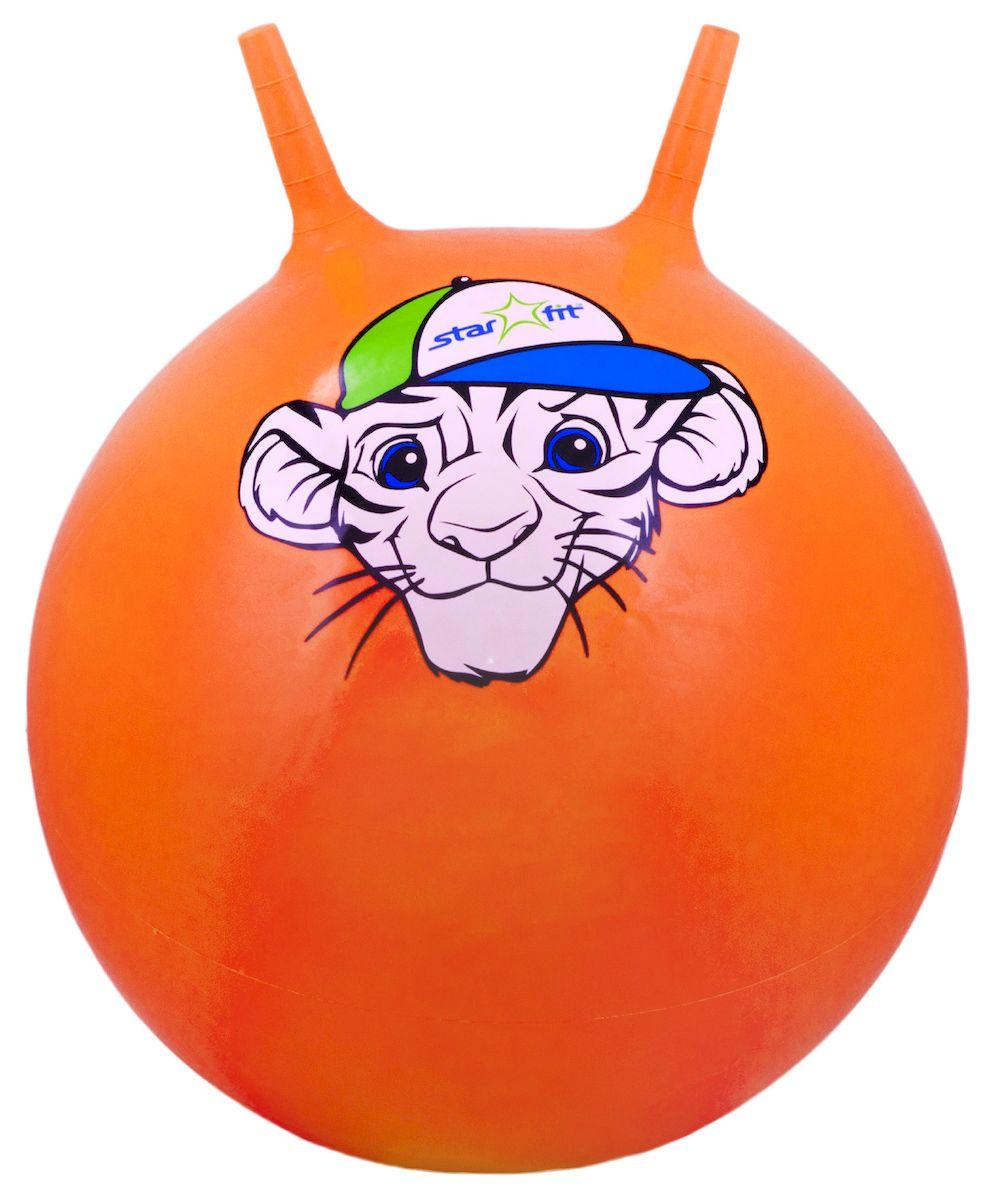 Мяч-попрыгун Starfit Тигренок, с рожками, цвет: оранжевый, белый, зеленый, диаметр 55 см мяч попрыгун z sports с рожками