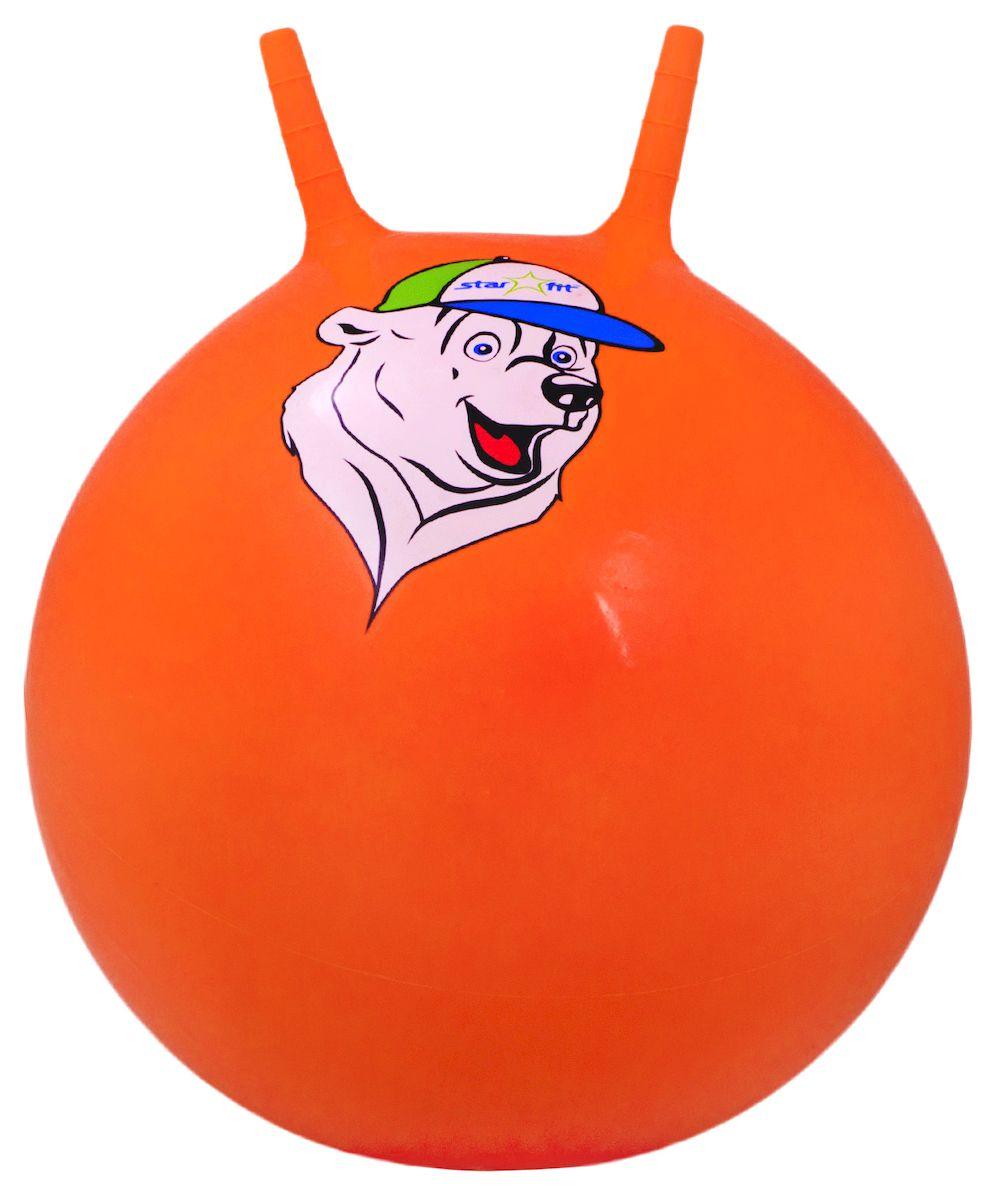 Мяч-попрыгун Starfit Медвежонок, с рожками, цвет: оранжевый, диаметр 65 см мяч попрыгун z sports с рожками