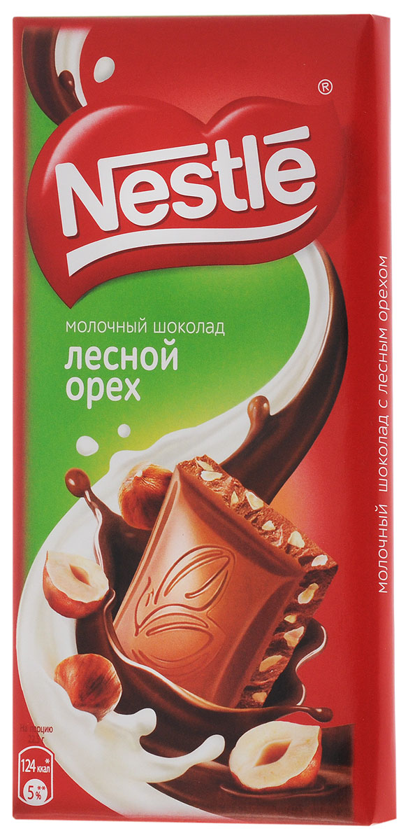 Nestle молочный шоколад с лесным орехом, 90 г nestle 900