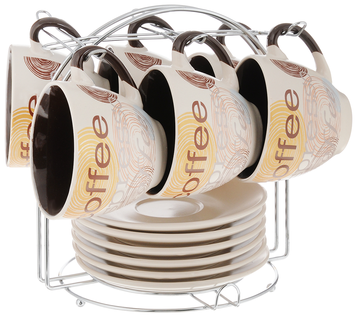 Фото - Набор кофейный Loraine, на подставке, 13 предметов. 23536 [супермаркет] jingdong геб scybe фил приблизительно круглая чашка установлена в вертикальном положении стеклянной чашки 290мла 6 z