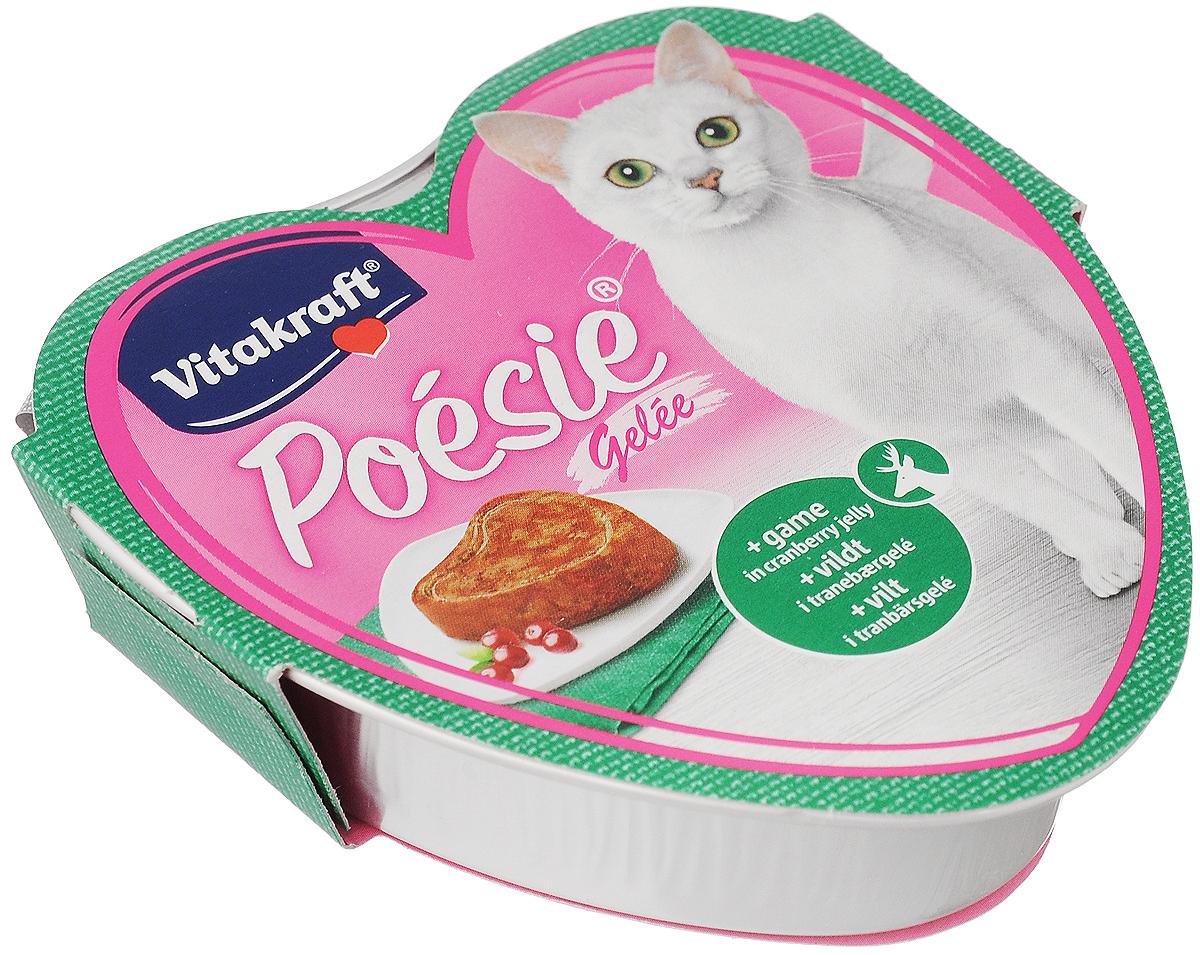 Консервы для кошек Vitakraft Poesie, дичь с клюквой в желе, 85 г влажный корм для кошек vitakraft poesie камбала в яйце террин 85г