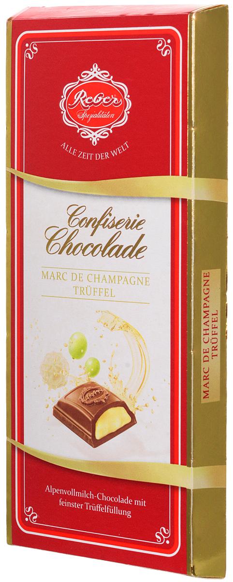 Reber Marc de Champagne Truffel шоколад молочный со вкусом шампанского, 100 г alpen gold шоколад молочный с начинкой со вкусом капучино 90 г