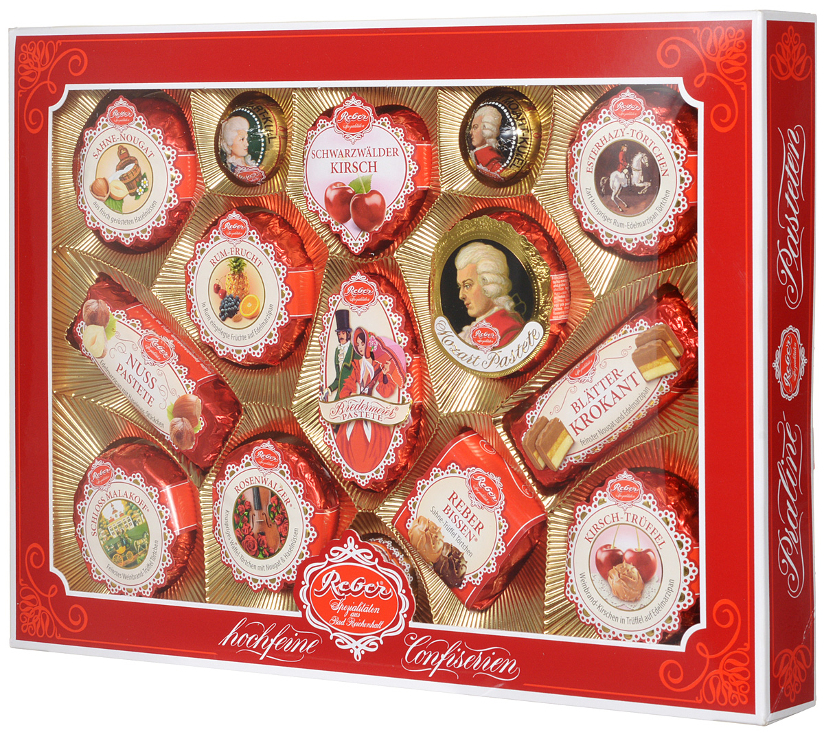 Reber Mozart подарочный набор шоколадных конфет, 525 г (коробка с окном)