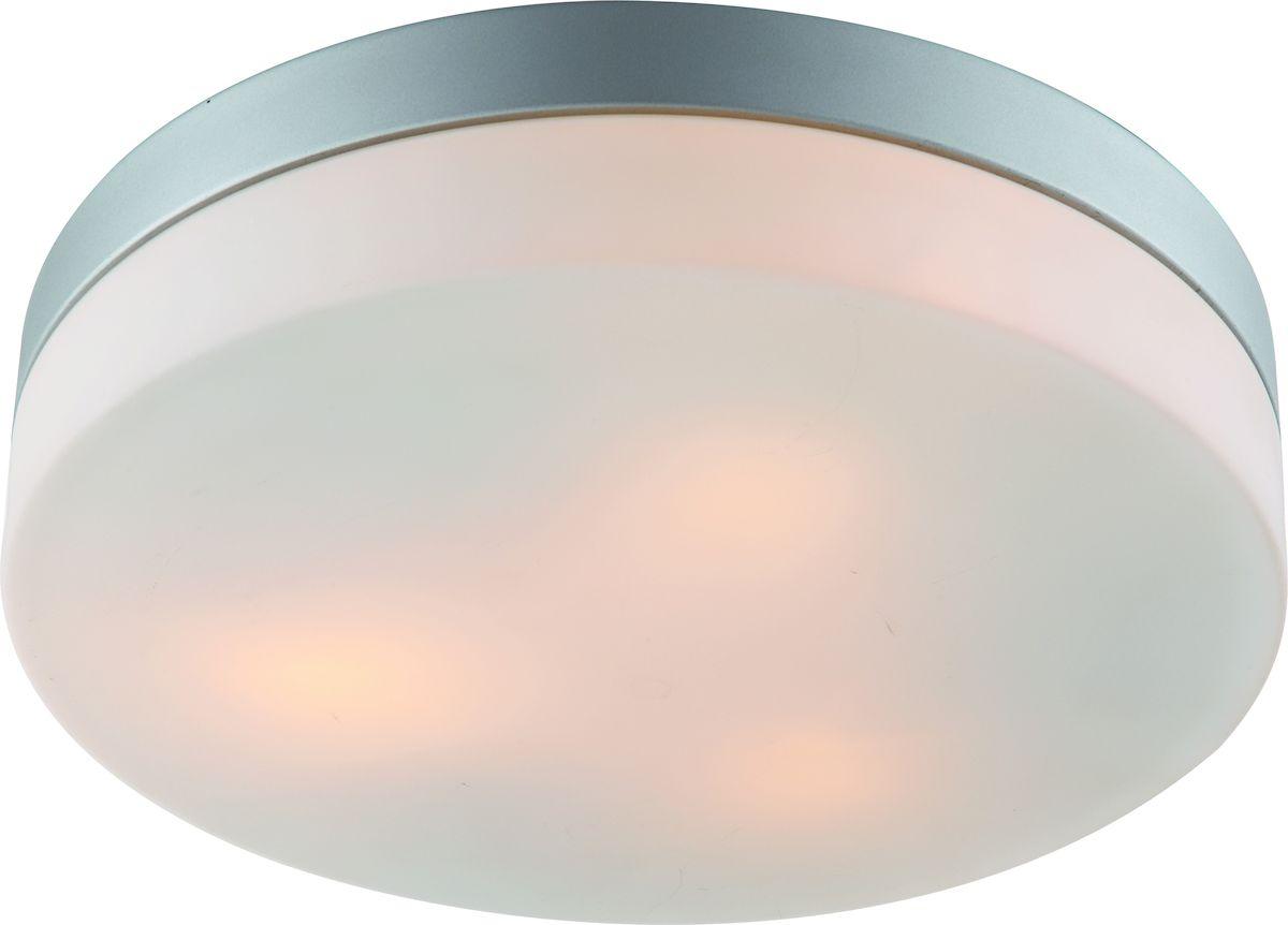 Светильник потолочный Arte Lamp Aqua. A3211PL-3SIA3211PL-3SIПотолочный светильник Arte Lamp Aqua поможет создать в вашем доме атмосферу уюта и комфорта. Благодаря высококачественным материалам он практичен в использовании и отлично работает на протяжении долгого периода времени. Лаконичный светильник круглой формы с плафоном из матового стекла. Диаметр: 30 см. Высота: 8 см. Лампы: E27; 3x60W. Пылевлагозащита IP44. Тип крепления: на шурупах.