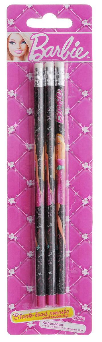 Barbie Набор чернографитных карандашей с ластиком 3 шт derwent набор чернографитных карандашей sketching 4 шт