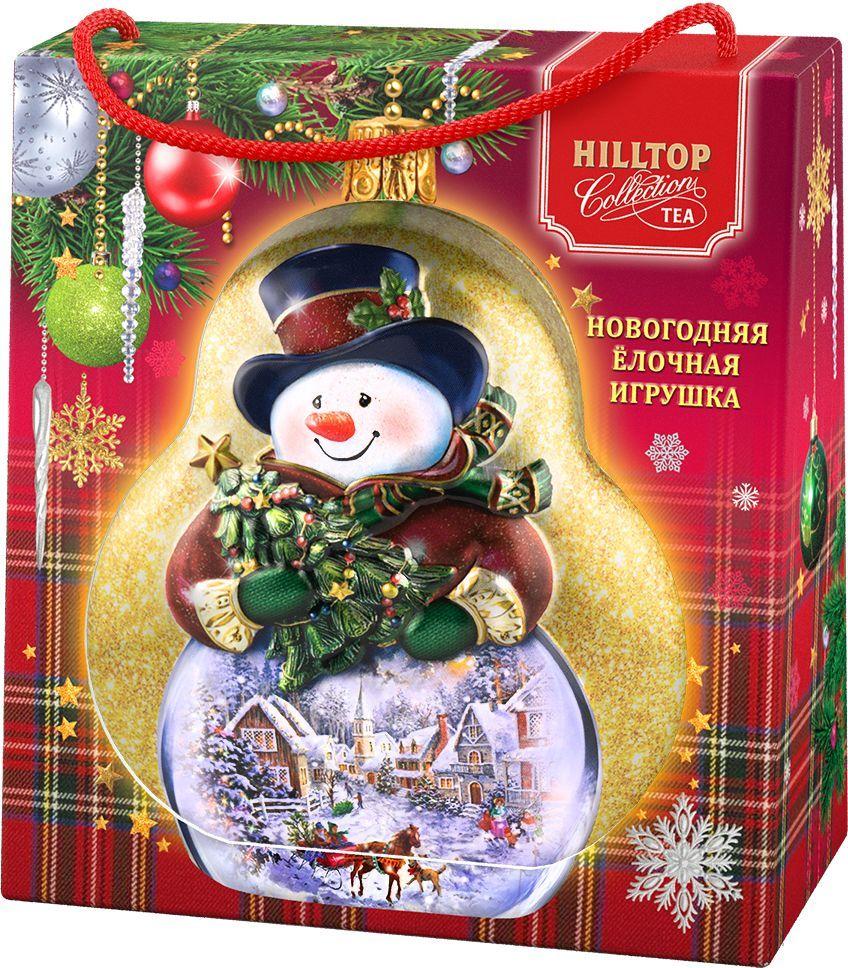 Hilltop Елочная игрушка Снеговик Земляника со сливками ароматизированный листовой чай, 50 г ароматизированный чёрный чай земляника со сливками 50 г