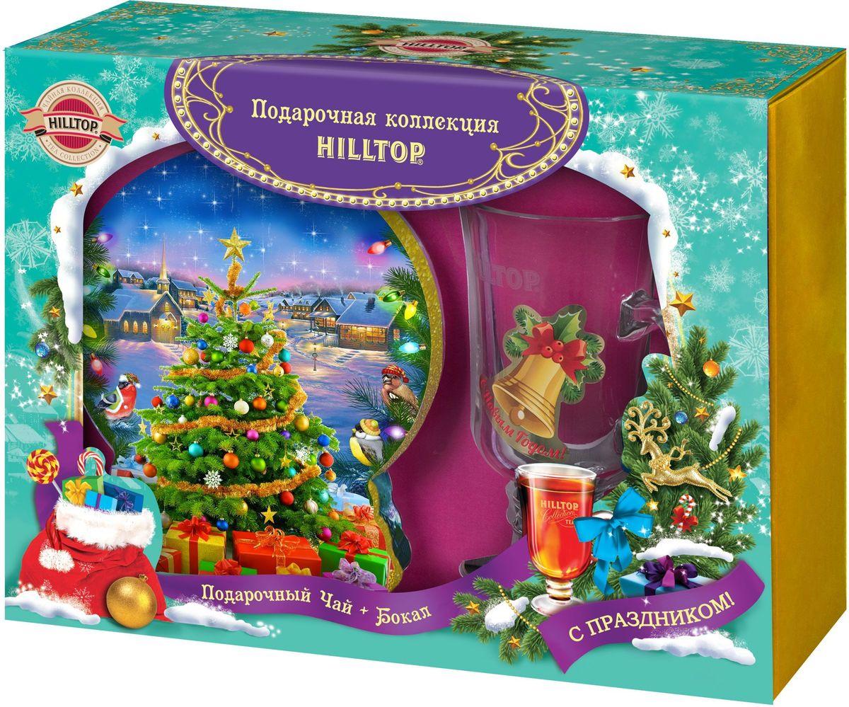 Hilltop Набор Новогодняя елка Волшебная луна ароматизированный листовой чай, 100 г + бокал hilltop розы 1001 ночь набор зеленого и черного листового чая в музыкальной шкатулке 125 г