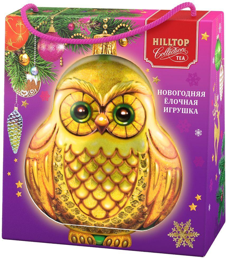 Hilltop Елочная игрушка Сова Королевское золото черный листовой чай, 50 г (в футляре) hilltop утреннее чаепитие черный листовой чай королевское золото в футляре 80 г