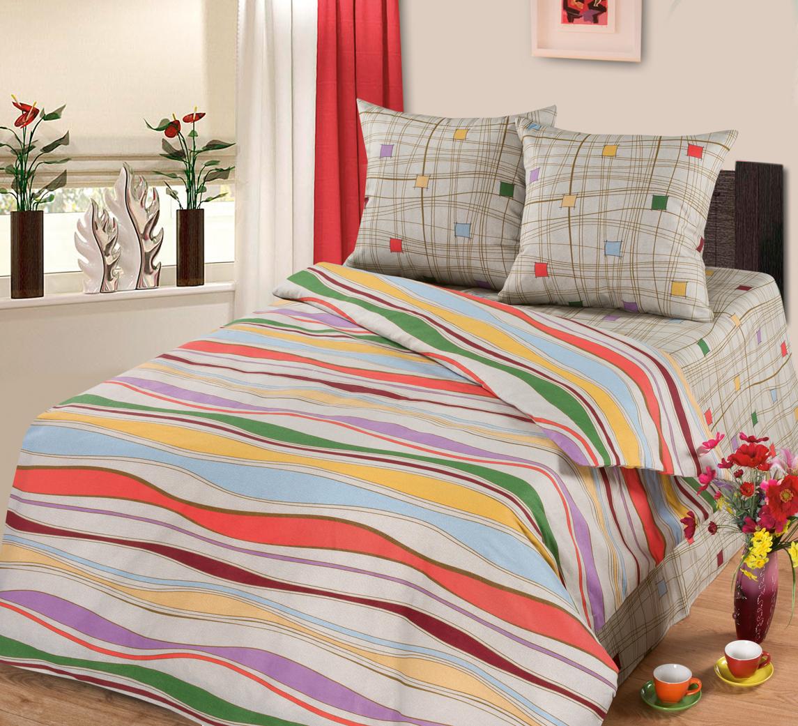 Комплект белья АртПостель Волна, 2-спальный, наволочки 70x70