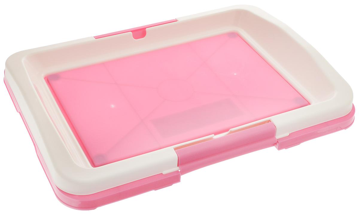 """Туалет для собак V.I.Pet """"Японский стиль"""", цвет: розовый, белый, 48 х 35 х 5 см"""