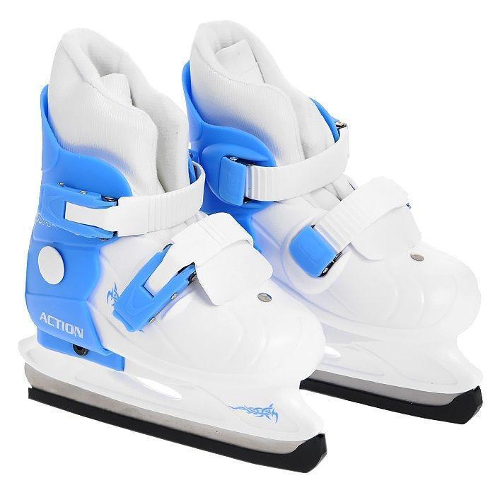 """Коньки ледовые Action """"PW-219"""", раздвижные, цвет: голубой, белый. Размер 37/40"""