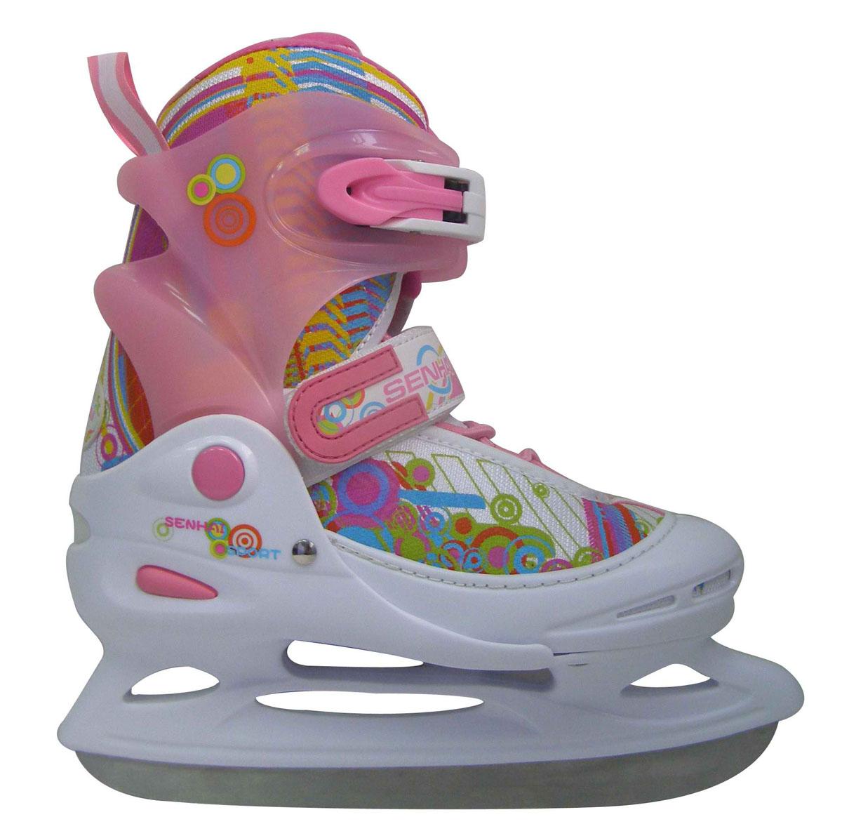 Коньки ледовые для девочки Action, раздвижные, цвет: белый, розовый, голубой. PW-111. Размер 34/37
