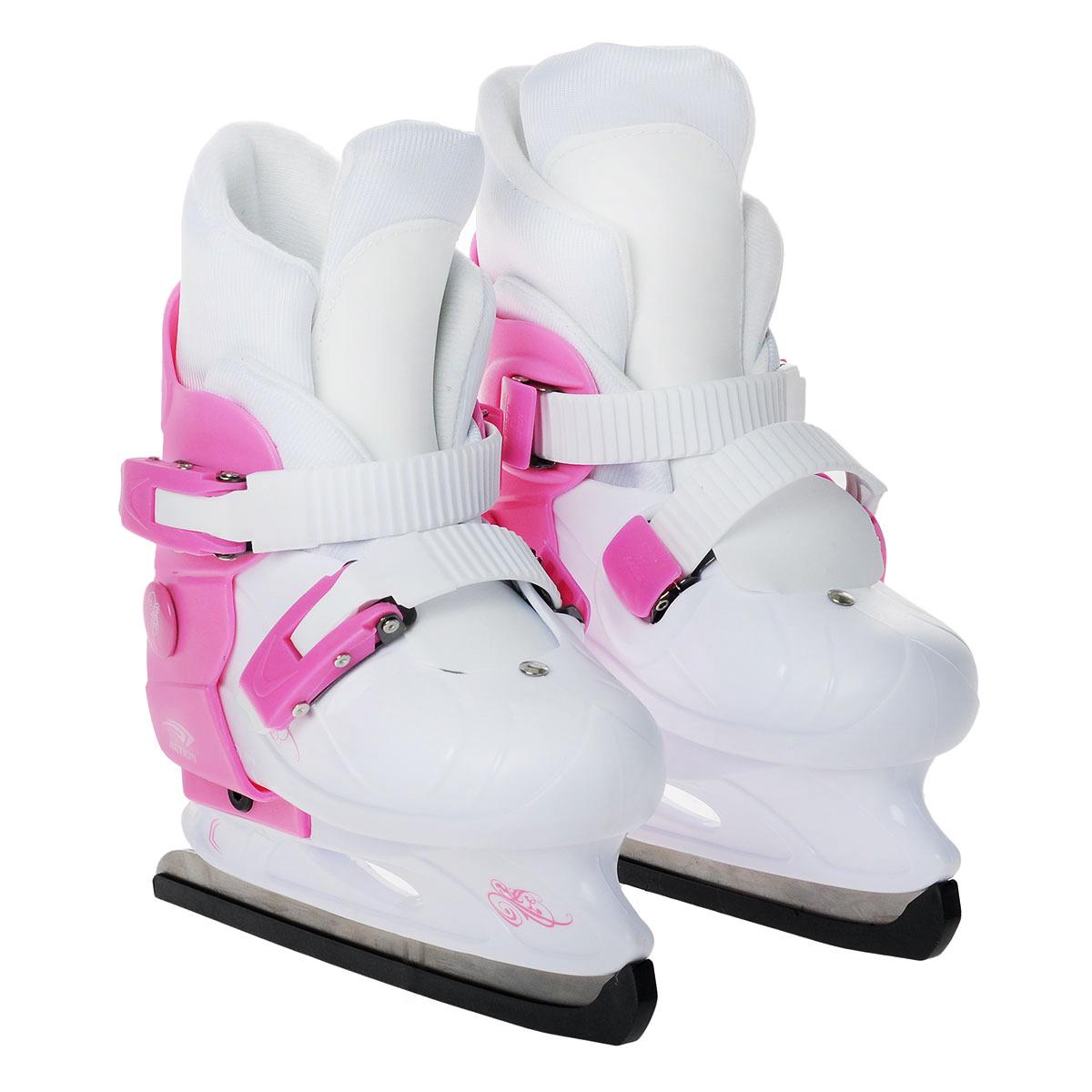 Коньки ледовые Action PW-219, раздвижные, цвет: розовый, белый. Размер 37/40