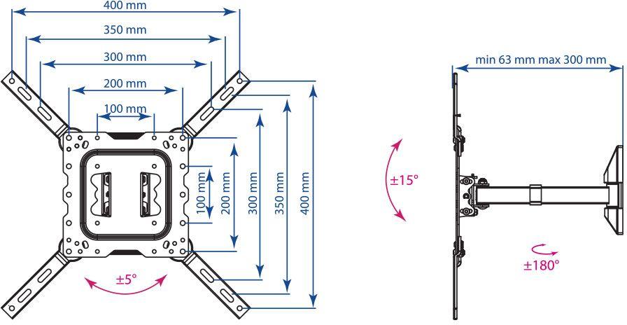 Кронштейн для ТВ Kromax DIX-17 Black